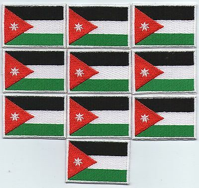 Lot 10 Ecusson Patche Thermocollant Drapeau Jordanie 4,5 X 3 Cms