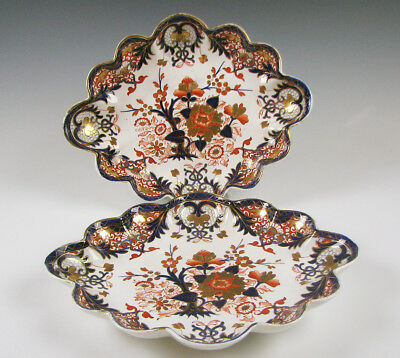 Pair of Antique Derby Porcelain large Lobed Trays Kings Pattern circa 1800-25