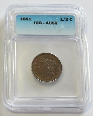 Stunning 1851 Half Cent Icg Au 58 Almost Uncirculated