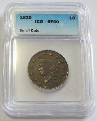 1820 Large Cent Small Date Icg Xf40 Beautiful  Example