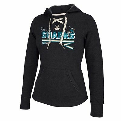 San Jose Sharks NHL CCM Classic Ribbon Lace-Up Pullover Premium Hoodie Women's