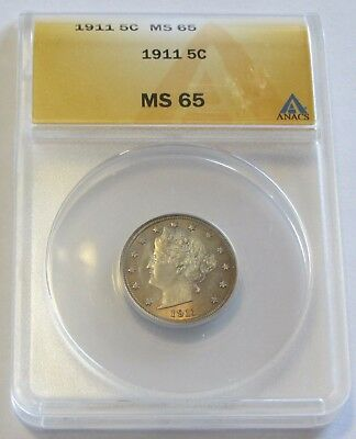Gem 1911 Liberty Nickel Anacs Ms 65