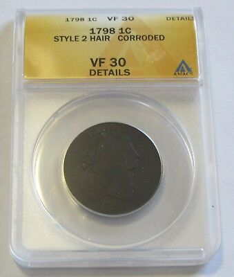 1798 Draped Bust Large Cent Style 2 Hair Anacs Vf 30