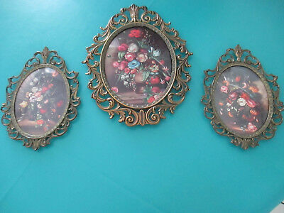 Vintage Home Interiors Oval Floral Prints w Ornate Brass Frames Curved Glass(3)