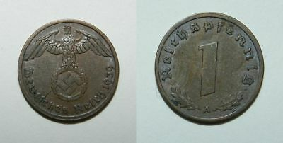 GERMANY : THIRD REICH WW2 COIN - 1 Pfennig 1939 A - SHARP DETAIL EF