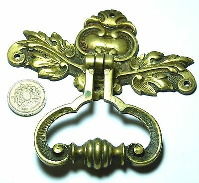 Large Heavy Quality Antique Brass Fancy Chest/drawer/door Handle Leaves