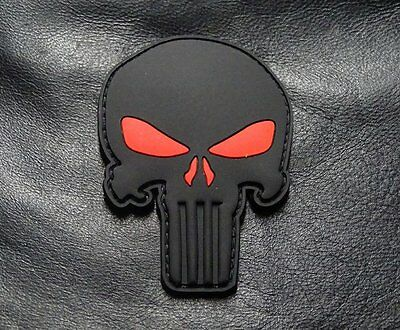 Punisher Skull 3.0 INCH PVC Rubber Morale Hook 3D PVC Patch