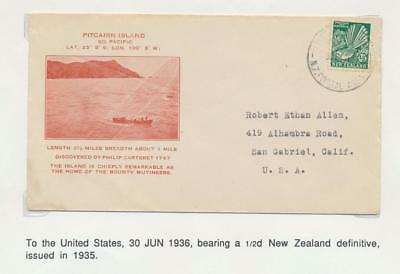 PITCAIRN IS, 1936 ILLUSTRATED UNDERPAID COVER TO USA,NZ POSTAL AGENCY CDS,½d NZ
