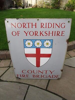 Rare vintage 1950s North Riding Yorkshire County Fire Brigade enamel Sign Best