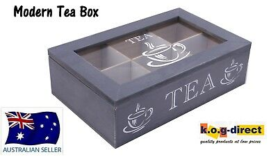 Wooden Modern Tea Box Container Glass Lid With 6 Divisions Holds 60 Bags Hw-202B