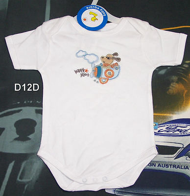 Baby Square Puppy Pilot Boys White Embroidered Romper Size 0000 New