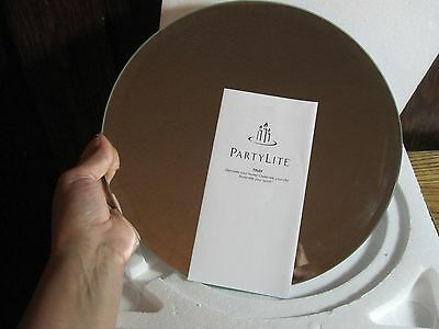 """PARTYLITE 11"""" MIRRORED TRAY ORIGINAL BOX P90275 PREOWNED Village Ice Rink"""