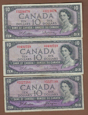 1954 Canada $10 Bank Notes - Get all 3 - Buy It Now!!!