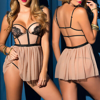 Sexy-Lingerie Women Backless Babydoll Open Cup Sleepwear Lace Dress G-String