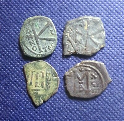 Lot Of 4 Ancient Byzantine Bronze Genuine Coins Unidentified