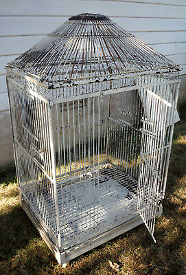 "Vintage Large  Steel Bird Cage  36"" x 30"" and 60"" in  center height"