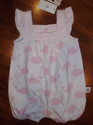 0 3 M BABY GAP Pink WHALE Organic Cotton Bubble Romper New Born Infant Girl NWT