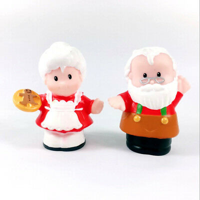 rare Lot 2pcs FISHER-PRICE Little People Santa Claus Workshop Christmas Toy Doll