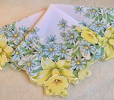 Beautiful New Yellow DAFFODILS Handkerchief Hankie! Pastel Aqua Daisies
