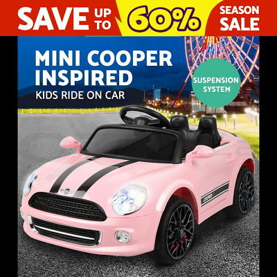 RIGO New Kids Ride On Car Electric Toy Battery Pink & Black Music Songs Light