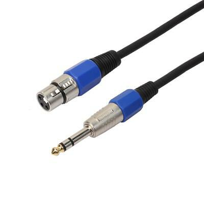 """3-pin XLR Female to 1/4"""" TRS 6.35mm Male Balanced Stereo Audio Mic Cable 1ft"""