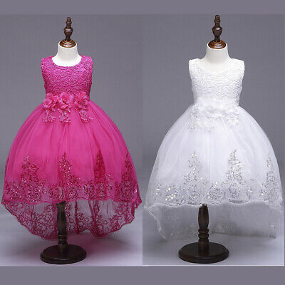 UK Girls Kids Flower Bridesmaid Wedding Party Christening Gown Princess Dress