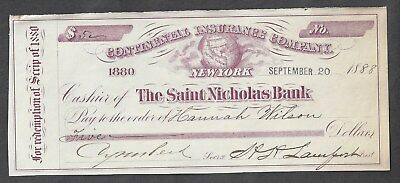 1888 Saint Nicholas Bank Check New York City