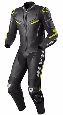 Tuta Intera Leather Suit Moto Rev'it Revit Masaru Pelle Nero Black Yellow Tg 48