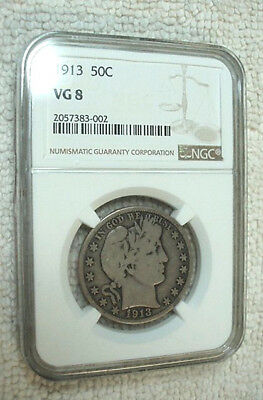 1913 NGC VG 8 Barber Half Dollar Certified Very Good with Strong Denticle Rims