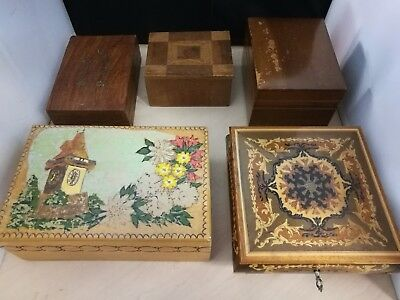 5 Vintage Trinket Jewellery Boxes - Music Box