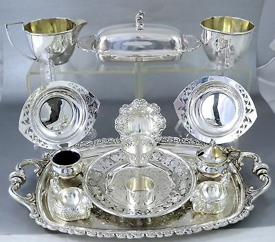 ESTATE LOT SILVERPLATE TABLEWARE Salt Nut Cellars Trays SHEFFIELD BIRKS