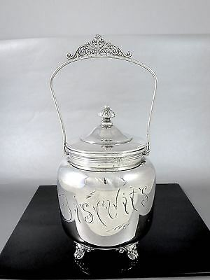 Victorian MONARCH SILVER Co Engraved Silverplate BISCUIT BARREL c.1890