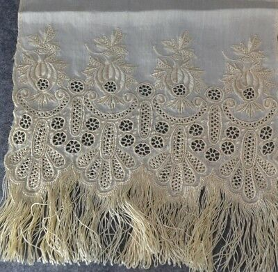 needle lace hand made hedebo silk embroidery scarf off white antique original