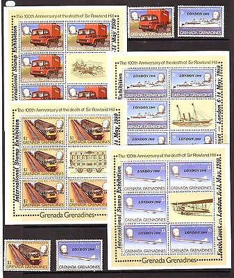 a118 - GREN ST GRENADA - SG392-395 MNH 1980 LONDON 1980 STAMP EXH + SHEETLETS