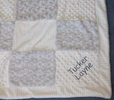 KYLE & DEENA Gray White minky patchwork baby blanket Personalized boys girls new