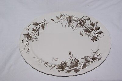 "Antique Extra Large Oval Serving Platter 18"" Losol Kent Brown Meat Dish"