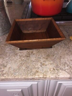 Vintage 11 inch Square Wooden Brown Bowl Hand Made Fruit Salad Centerpiece