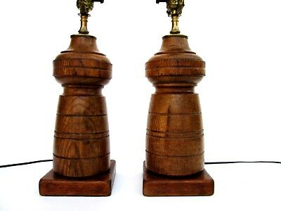 Vintage Pair of Brass and Solid Turned Wood Column 3 Way Cylinder Table Lamps