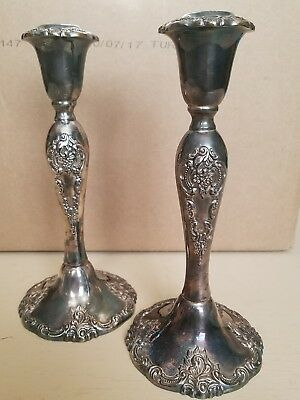 "Vintage Antique Pair Silverlate Candlesticks Ornate ""Baroque"" By Wallace 750"