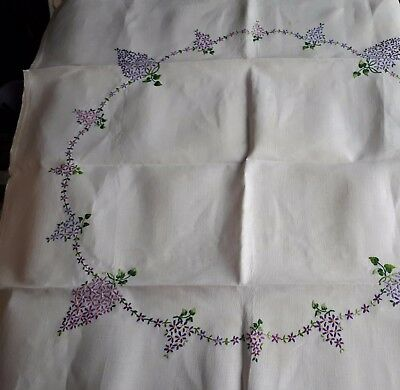 Vintage Hand-Embroidered Linen Tea Tablecloth. Ring of Lilac Flowers on White