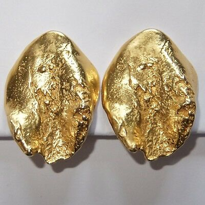 Chic Vintage High End Modernist Gold Plate Clip Earrings