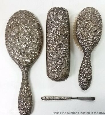 Antique Sterling Silver repousse Vanity Cloth Brush Mirror Tweezer 4pc Set 32ozt