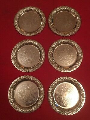 Set Of 6 Vintage Silver Plated Coasters