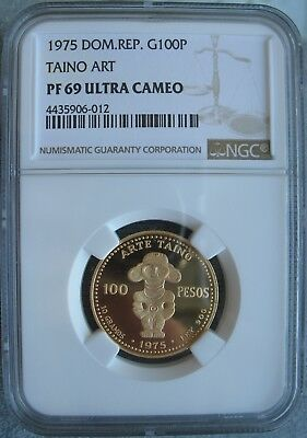 Dominican Republic 1975 Gold 100 Pesos NGC-MS-69 Ult. Cameo TAINO ART