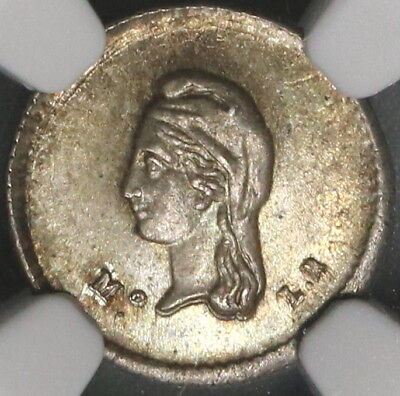 1843-Mo NGC MS 64 MEXICO Silver 1/4 Real Toned Coin (17110401C)