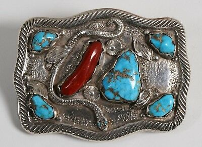 Large Old Pawn Zuni Native American Silver Turquoise & Coral Buckle - Simplicio