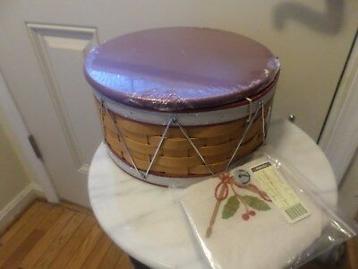 Longaberger 2012 Christmas Drum Basket Combo With  Wood Lid And  Liner