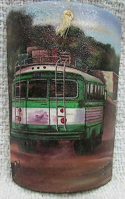 Hand painted Guatemala bus on Terracotta pottery shard wall hanging FREE S/H