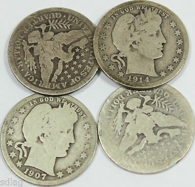 (4) Mixed 25c - Barber Head Quarter - 90% Silver FREE SHIPPING LOT OF 4 - 78148