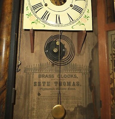 Seth Thomas Clock, 1860's, Weight Driven, Plymouth Hollow Label, Working Antique
